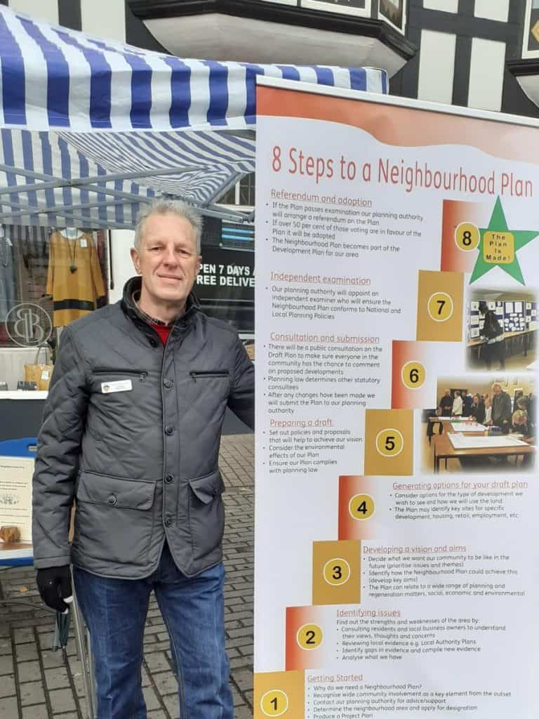 Cllr Robert Oates at the market stall